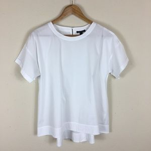 Eileen Fisher Loose White Keyhole Back Blouse MD